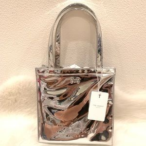 NWT Ted Baker London silver logo small tote bag